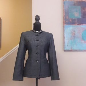 Kasper/ Black/ Grey/ Print/ Button Front/ Blazer